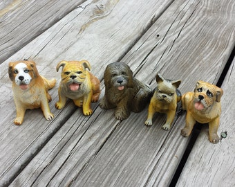 Collection of New Ray Rubber Dog Toys, Total of 5 Dogs, Boston Terrier, Bull Dog, Old English Sheepdog, Mastiff, St. Bernard , Altered Arts