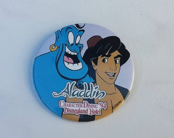 Aladdin, Character Dining '94, Disneyland Hotel Pin Back Button, 3 Inches