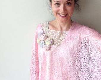 Pale Pink Fringe Top, Upcycled Clothing for Women, Shabby Chic Lace Poncho, Pink Lace Fringe Kimono, Recycled Refashioned Shirts, Romantic