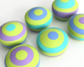 6 Colorful Rings Cabnet Knobs - SET OF SIX