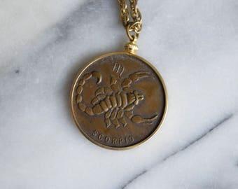 Vintage Zodiac Pendant / Scorpio Horsoscope Necklace c.1970s