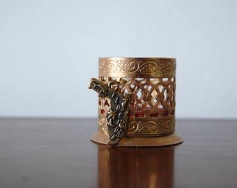 Vintage Florida Souvenir - Small Metal Trinket with Florida Charm - Red Velvet Florida Souvenir - Flamingo Fish Dolphin Seahorse Palm Tree