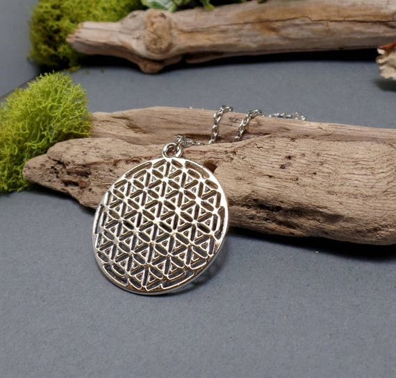 Flower of Life Necklace - Sacred Geometry Necklace - Spiritual - Free US Shipping  - Silver Necklace