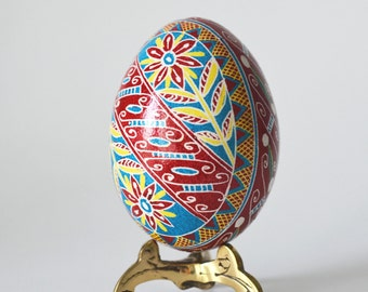 Pysanka Ukrainian Easter egg hand painted traditional way with hot beeswax batik style art beautiful ornament for Christmas and birthdays