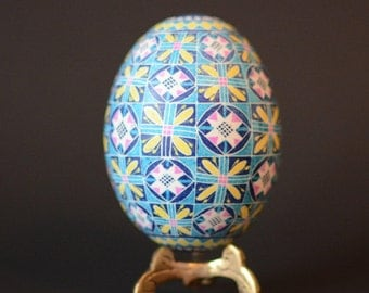 Blue Pysanka Ukrainian Easter egg hand painted egg baby boy first Christmas or baptism customized gift I can write name and date on the egg