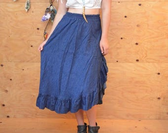 Vintage 70's Denim Jean A-line Skirt Ruffles Down The Side & Hem Size Medium