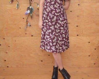 Vintage 80's Dress Grunge Revival Summer Calico Floral Print In Maroon SZ M