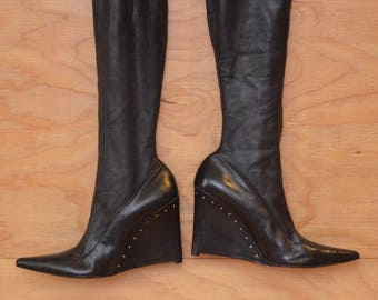 Vintage 90's Helmut Lang Thigh High Black Leather Boots With Silver Studs High Heel Wedge Pointed Toe, SZ 9