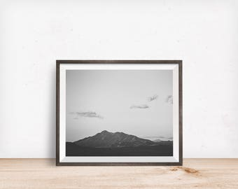 Mountain Landscape Photograph in Black and White, Vintage Inspired Wall Art, Physical Print