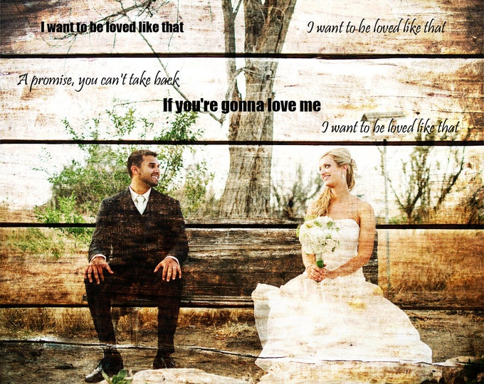 5th Anniversary Gift 5 Year Anniversary First Dance Lyrics First Dance Song Wedding Picture Gift Wedding Vows Art Wood Print  16x20