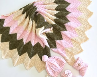 Chevron Baby Blanket, Booties and Hat Gift Set in  Pink and Brown
