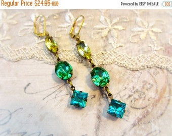MOVING SALE Warm Summer Breeze, Yellow Marquise,Green Peridot Ovals,Turquoise Diamonds Vintage Rhinestone Earrings by Hollywood Hillbilly