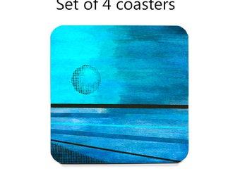 Moon coaster set, abstract art drink coasters, set of 4, blue coasters, moon, wine accessories, housewarming gift, cork back coasters