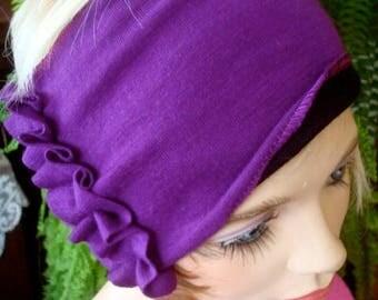 womens Headband extra Wide Headband Comfortable Yoga turband Alopecia fine merino indigo