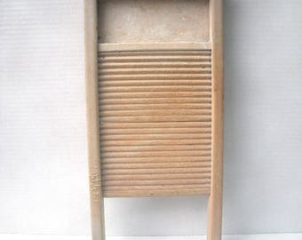 "Vintage All Wood Small Washboard 18"" x 8.5"" x 1.5"" Farmhouse Country Laundry Decor or Upcycle"