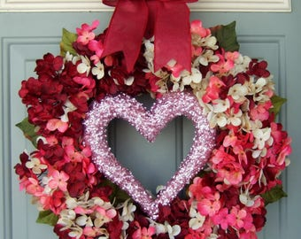 Valentine Wreath -  Valentine Door Wreath - Valentines Day Wreath - Heart Wreath - Valentine Heart Wreath