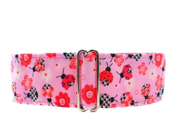 Pink Martingale Collar, 2 Inch Martingale Collar, Ladybug Martingale Collar, Greyhound Collar, Pink Dog Collar, Ladybug Dog Collar