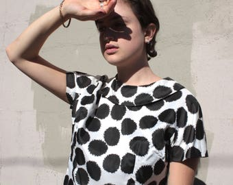 Vintage 1960's Blouse // 50s 60s Black and White Abstract Print Blouse // Midcentury Rockabilly