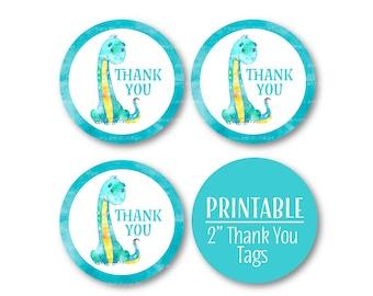 Dinosaur Thank You Circles, Thank you tags, Birthday  Printable Favour Tags, Blue and Green Decor,  Printable 1064