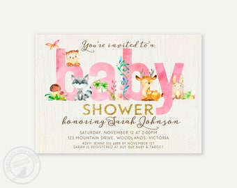 Pink Woodland Baby Shower Invitation,  Baby Boy Shower invitation, Invitation, Baby Girl Shower | Printable Invitation  0498pink