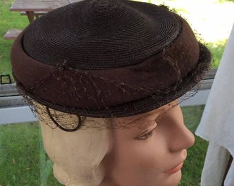 Vintage 1940s 1950s Hat Brown Straw Veiled Makers Label Is: Individually Tailored By Fisk