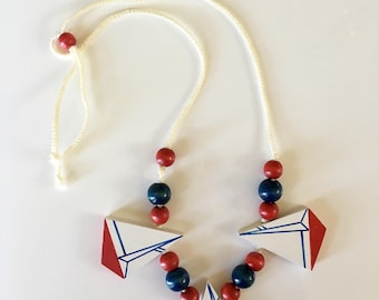 vintage sailboat necklace - SAILING wooden novelty jewelry