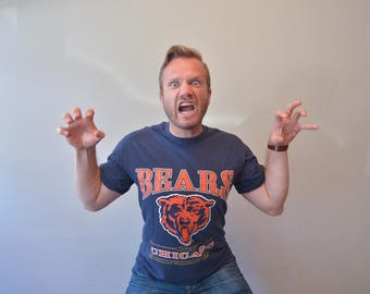 Vintage 90s Blue and Orange Chicago Bears Tee shirt
