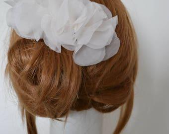 Bridal Fascinator Silk Haircomb Organza Silk White