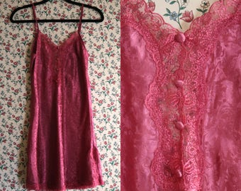 Mauve Slip Dress | open back v neck / back small medium s m  l 90s vintage minimalist spaghetti strap lacy mini dress lace detail pink