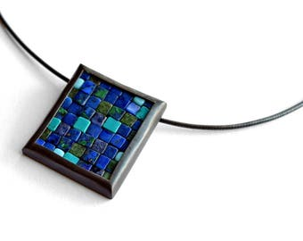 Mosaic Necklace - Gemstone Silver Pendant - Rectangular Pendant - Mosaic Pendant - Blue Green Pendant - Mosaic Jewelry - Blue Green Necklace