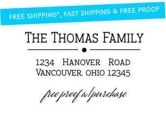 Custom Return Address Stamp.  Mounted with Handle with Return Address Stamp or Self-inking Return Address Stamp  (2 1/2 x 1 inches) 20279