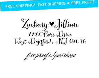 Calligraphy Return Address featuring a  heart (20387).  Mounted with handle or self-inking 2 1/2 x 1