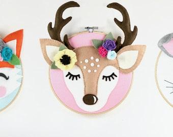 Baby Nursery Deer Head Antlers Deer Antler Nursery Art Pattern Woodland Nursery Deer Sewing Pattern, Boho Nursery, Felt Pattern