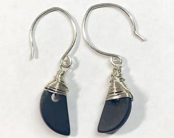 Half Moon Serene Black Onyx Gemstone Earrings - Sterling Silver Hand Wire Wrapped