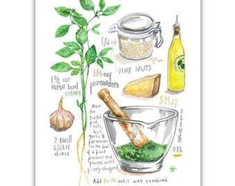 Basil Pesto recipe illustration print, Watercolor herb painting, Italian food poster, Kitchen art, Home decor, Italy wall art, Basil plant