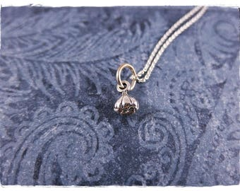 Tiny Garlic Bulb Necklace - Sterling Silver Garlic Bulb Charm on a Delicate Sterling Silver Cable Chain or Charm Only