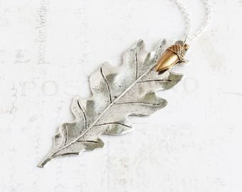 Large Silver Plated Oak Leaf Pendant Necklace with Brass Acorn