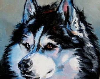 Siberian Husky Art oil painting pet portrait original one of a kind for dog lovers