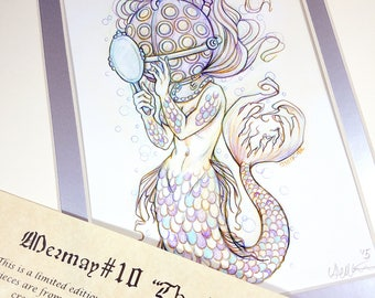The Helmet- Mermay 2017 Limited Run Double Matted Giclee Print with Story Scroll