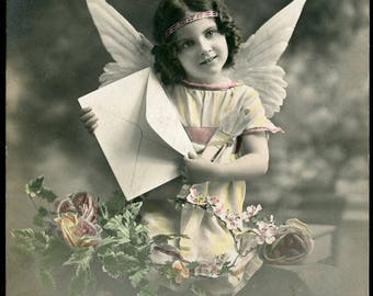 Little FAIRY Holding An Envelop - It's TIME To WRITE Photo Postcard 1912