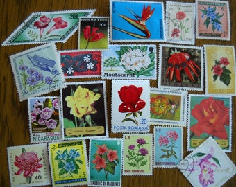 20 Vintage FLOWER Postage Stamps for crafting collage altered art journals scrapbooks philately commemorative stamps 14c