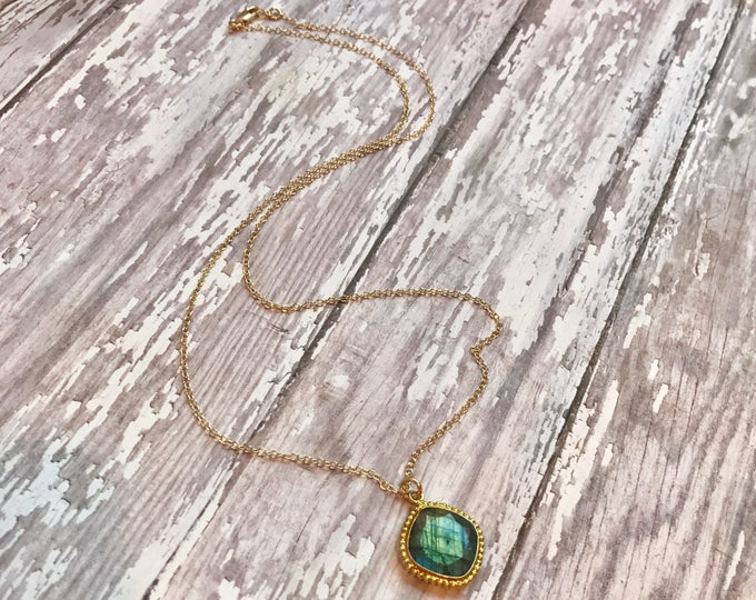 Labradorite Gemstone Pendant on Gold Chain