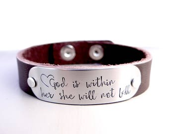 God Is Within Her She Will Not Fall -  Leather Cuff Bracelet. Inspiration, Inspirational Scripture Jewelry. Brown Leather Cuff Bracelet.