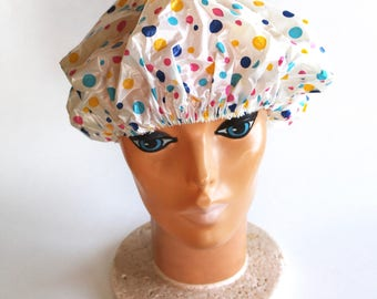 Vintage 1960s Polka Dot Shower Cap! Kitschy Fun!