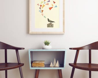CLEARANCE SALE! Bird Art, Pigeon Print - Pigeon Radio