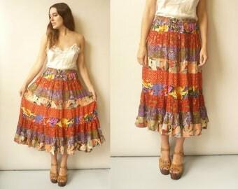 Vintage PHOOL Bohemian Indian Patchwork Hippie Gypsy Midi Skirt