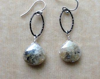 Silverite Honey Dentrite Faceted Heart Briolette Oxidized Sterling Silver Earrings