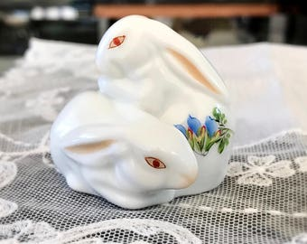 Herend Pair of Bunnies Hungarian Floral Porcelain Bunny Figurine