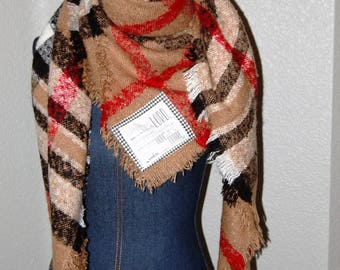 Scripture Scarf - Blanket - Tan, red, black, and white plaid