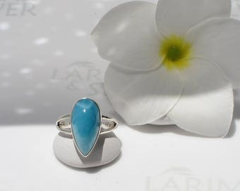 Larimar ring size 5.75 by Larimarandsilver, Sky Drop 2 - Caribbean blue Larimar pear, AAA, japan size 11, blue drop, handmade Larimar ring